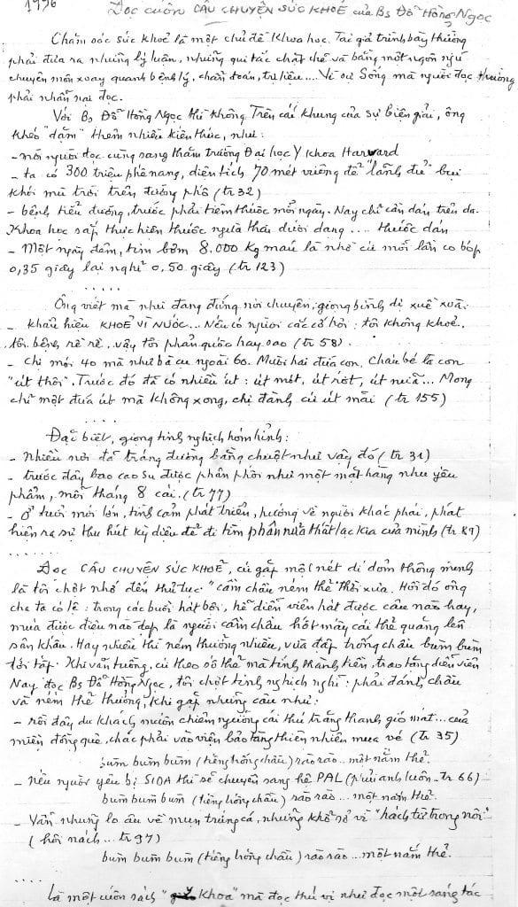 bản viết tay của Võ Hồng, 1996