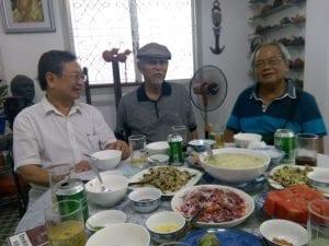 Từ trái: Đỗ Hồng Ngọc, Khuất Đẩu, Kiệt Tấn